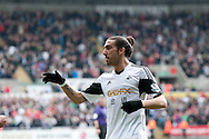 Chico Flores of  Swansea City runs up to congratulate Jonathan De Guzman on his 2nd goal.<br /> Barclays premier league match , Swansea city v Norwich city at the Liberty stadium in Swansea, South Wales on Saturday 29th March 2014.<br /> pic by Phil Rees, Andrew Orchard sports photography.