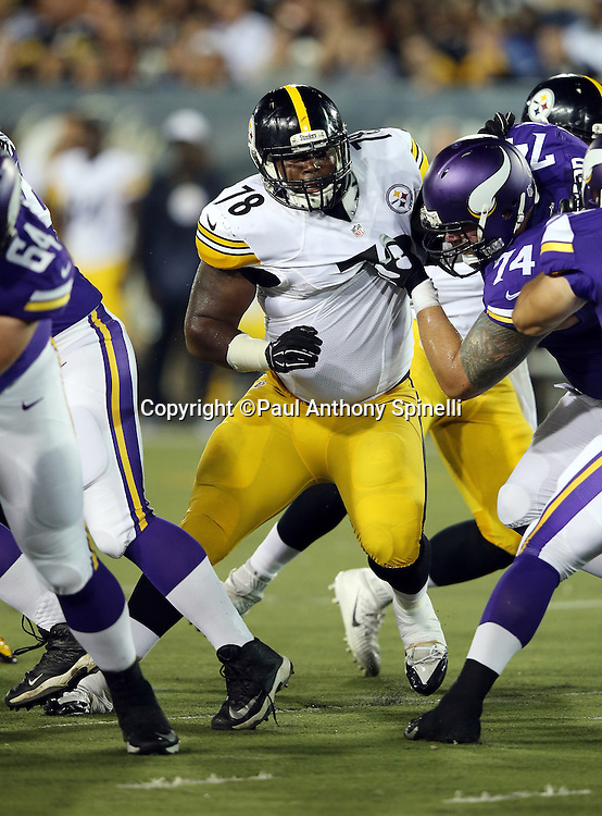 Pittsburgh Steelers defensive end L.T. Walton (78) works his way through a block during the 2015 NFL Pro Football Hall of Fame preseason football game against the Minnesota Vikings on Sunday, Aug. 9, 2015 in Canton, Ohio. The Vikings won the game 14-3. (©Paul Anthony Spinelli)