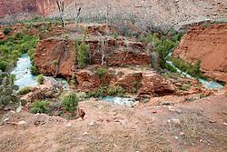 OCT 6, 2016: Havasu creek flows along the canyon edge to the falls in Supai, Arizona, Richey Miller/CSM(Credit Image: © Richey Miller/Cal Sport Media)