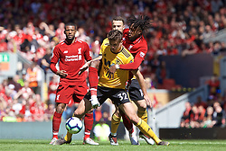 LIVERPOOL, ENGLAND - Sunday, May 12, 2019: Liverpool's Divock Origi (R) and Wolverhampton Wanderers' Leander Dendoncker (L) during the final FA Premier League match of the season between Liverpool FC and Wolverhampton Wanderers FC at Anfield. (Pic by David Rawcliffe/Propaganda)