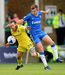 Stuart Sinclair of Bristol Rovers battles for the ball with Jake Hessenthaler of Gillingham - Mandatory by-line: Alex James/JMP - 14/04/2017 - FOOTBALL - MEMS Priestfield Stadium - Gillingham, England - Gillingham v Bristol Rovers - Sky Bet League One