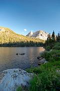 Sunset over Purple Lake; John Muir Wilderness, Sierra National Forest, Sierra Nevada Mountains, California, USA.