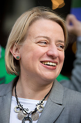 © Licensed to London News Pictures. 01/05/2015. London, UK. Natalie Bennett  launch Green Party's LGBTIQ manifesto today in Soho, central London. Ms Bennett announced Green pledges to review the discriminatory blood ban and introduce LGBTIQ-inclusive sex education. Photo credit: LNP