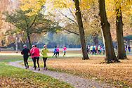 Nederland, Vught, 20151031.<br /> Prachtige herfstdag. Tranin van de loopschool van Wim Akkemans.<br /> In het park van Vught met herfstkleuren, bladeren op een zon overgoten ochtend.<br /> Loopschool Wim Akkermans