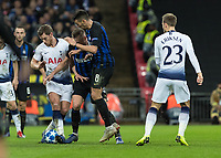 Football - 2018 / 2019 UEFA Champions League - Group B: Tottenham Hotspur vs. Inter Milan<br /> <br /> Goalmouth scramble as Jan Vertonghen (Tottenham FC)  blocks Matías Vecino (Inter Milan) and Danilo D'Ambrosio (Inter Milan) at Wembley Stadium.<br /> <br /> COLORSPORT/DANIEL BEARHAM