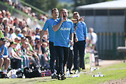 Forest Green Rovers assistant manager, Scott Lindsey barks out instructions during the Vanarama National League Play Off second leg match between Forest Green Rovers and Dagenham and Redbridge at the New Lawn, Forest Green, United Kingdom on 7 May 2017. Photo by Shane Healey.