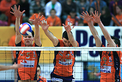 Alen Sket,  Alen Pajenk and Matija Plesko at last final volleyball match of 1.DOL Radenska Classic between OK ACH Volley and Salonit Anhovo, on April 21, 2009, in Arena SGS Radovljica, Slovenia. ACH Volley won the match 3:0 and became Slovenian Champion. (Photo by Vid Ponikvar / Sportida)