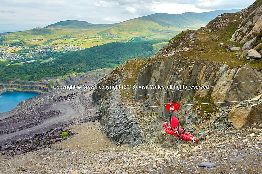 Zip Wire over Penrhyn Slate Quarry<br /> Zip World<br /> Bethesda<br /> Gwynedd<br /> Snowdonia<br /> North<br /> Tourist Attractions