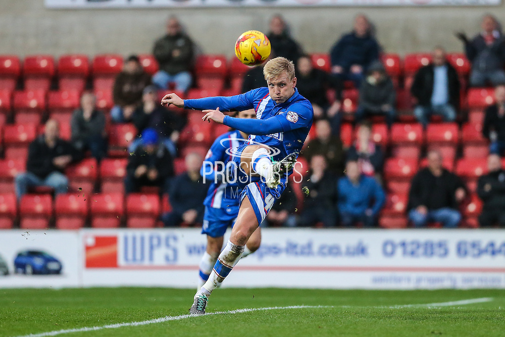 Gillingham's Josh Wright clears the ball during the Sky Bet League 1 match between Swindon Town and Gillingham at the County Ground, Swindon, England on 26 December 2015. Photo by Shane Healey.