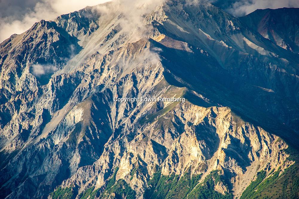 Mountain face of Chucach Mountains near Palmer, Alaska