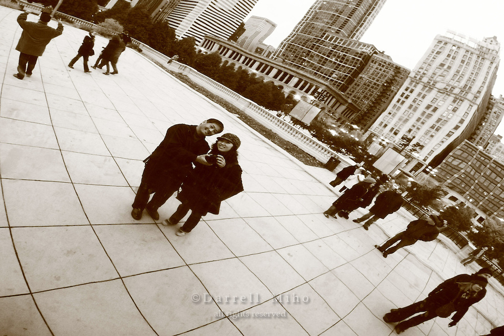 Nov. 08, 2008; Chicago, IL - Downtown Chicago Skyline and the Cloud Gate sculpture (aka: the Bean) by sculptor Anish Kapoor at Millenium Park...Photo credit: Darrell Miho