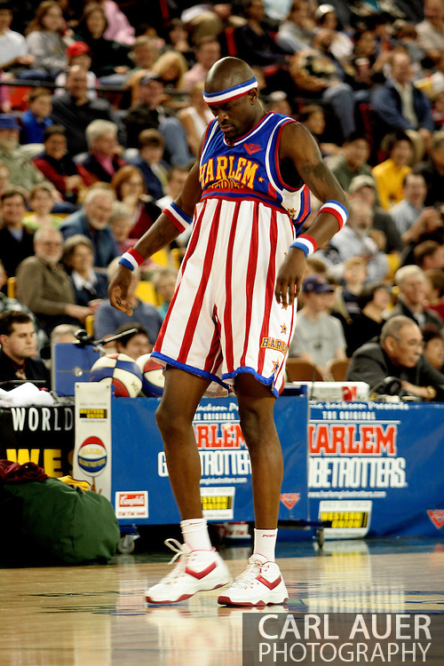 """04 May 2006: Kevin """"Special K"""" Daley clowning around during the Harlem Globetrotters vs the New York Nationals at the Sulivan Arena in Anchorage Alaska during their 80th Anniversary World Tour.  This is the first time in 10 years that the Trotters have visited Alaska."""