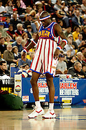 "04 May 2006: Kevin ""Special K"" Daley clowning around during the Harlem Globetrotters vs the New York Nationals at the Sulivan Arena in Anchorage Alaska during their 80th Anniversary World Tour.  This is the first time in 10 years that the Trotters have visited Alaska."