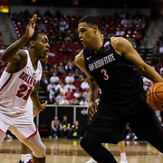 08 March 2018: San Diego State men's basketball takes on Fresno State in their first game of the Mountain West Conference Tournament. The Aztecs beat the Bulldogs 64-52 and will play Nevada tomorrow at the Thomas & Mack Center in Las Vegas, Nevada. <br /> More game action at www.sdsuaztecphotos.com