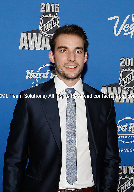 2016 June 22: Philadelphia Flyers defenseman Shayne Gostisbehere poses for a photograph on the red carpet during the 2016 NHL Awards at the Hard Rock Hotel and Casino in Las Vegas, Nevada. (Photo by Marc Sanchez/Icon Sportswire)