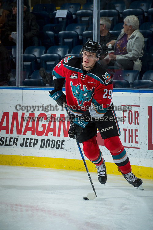 KELOWNA, CANADA - NOVEMBER 29: Nolan Foote #29 of the Kelowna Rockets warms up against the Prince George Cougars on November 29, 2017 at Prospera Place in Kelowna, British Columbia, Canada.  (Photo by Marissa Baecker/Shoot the Breeze)  *** Local Caption ***