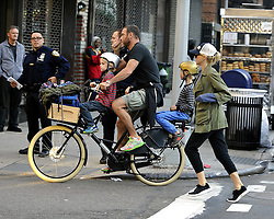 Oct. 17, 2014 - New York City, NY, United States - ....October 17 2014, New York City....Actors Naomi Watts and Liev Schreiber take their sons Sam and Sasha for a ride in the East Village on October 17 2014 in New York City  (Credit Image: © Curtis Means/Ace Pictures/ZUMA Wire)