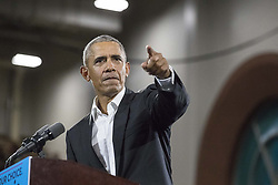 November 2, 2018 - Macon, Georgia, USA - Former President Barack Obama speaks during a rally for gubernatorial candidate Stacey Abrams in Forbes Arena at Morehouse College in Macon. (Credit Image: © Alyssa Pointer/Atlanta Journal-Constitution/TNS via ZUMA Wire)