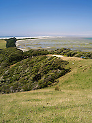 Looking east across Farewell Spit from the top of a local hill near Puponga, New Zealand.