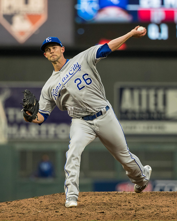 MINNEAPOLIS, MN- APRIL 3: Mike Minor #26 of the Kansas City Royals pitches against the Minnesota Twins on April 3, 2017 at Target Field in Minneapolis, Minnesota. The Twins defeated the Royals 7-1. (Photo by Brace Hemmelgarn) *** Local Caption *** Mike Minor