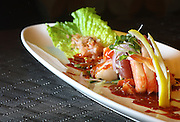 Allston, MA 101608   A plate of Sashimi Ceviche at Privus Lounge & Sushi bar and restaurant in Allston was photographed on October 16, 2008. (Essdras M Suarez/ Globe Staff)/ Food