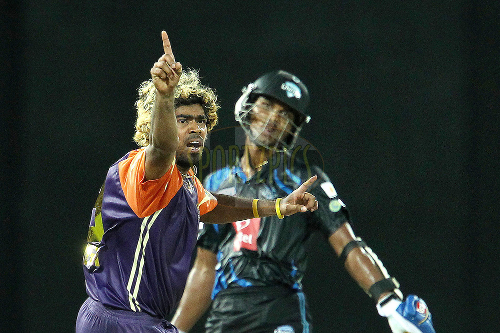 Lasith Malinga appeals for the wicket of Dinesh Chandimal during match 20 of the Sri Lankan Premier League between Ruhuna Royals and Wayamba United held at the Premadasa Stadium in Colombo, Sri Lanka on the 26th August 2012. .Photo by Ron Gaunt/SPORTZPICS/SLPL