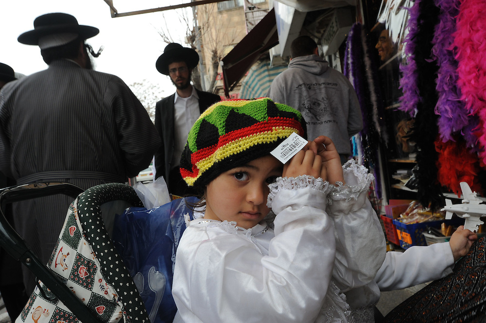 An Ultra Orthodox Jewish girl dressed in princess costume for the upcomoing holiday of Purim at Me'a She'arim Ultra Orthodox Jewish neighborhood, Jerusalem on Feb 24, 2010.