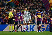 Liverpool defender Virgil van Dijk (4) appeals a decision  during the Champions League semi-final leg 1 of 2 match between Barcelona and Liverpool at Camp Nou, Barcelona, Spain on 1 May 2019.