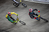#265 and #3 during practice at the 2018 UCI BMX World Championships in Baku, Azerbaijan.