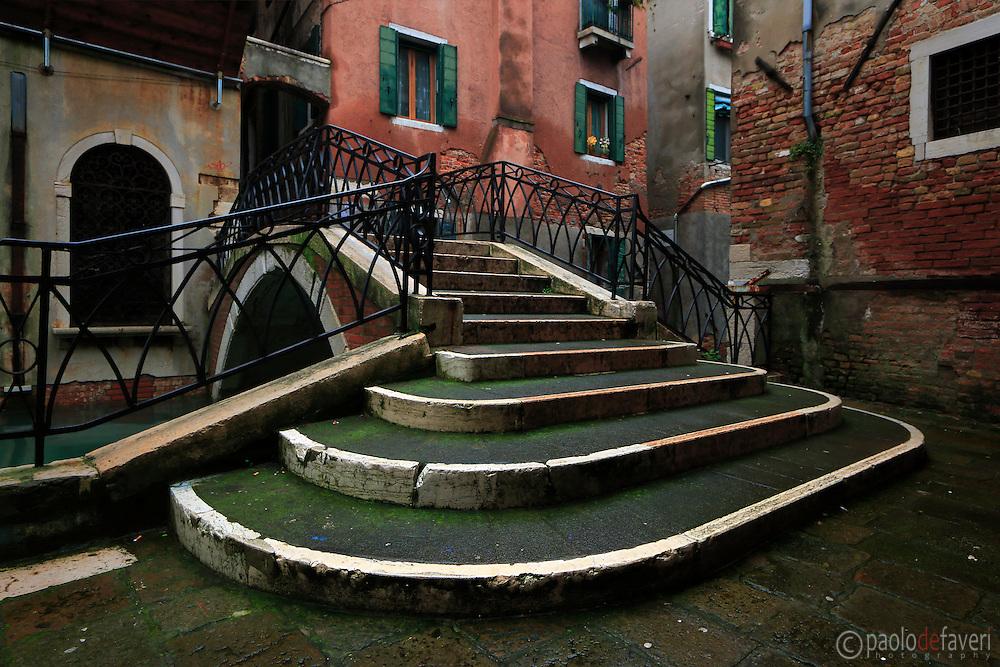 A beautiful small bridge at Rio della Maddalena in the Sestiere of Cannaregio, Venice, Italy