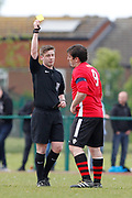 Litherland's Colin McDonald is next to get a yellow card (Red) during the North West Counties League Play Off Final match between Litherland REMYCA and City of Liverpool FC at Litherland Sports Park, Litherland, United Kingdom on 13 May 2017. Photo by Craig Galloway.