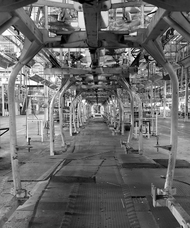 Chrysler Newark clam shell carrier tunnel in trim shop of main assembly plant, after taking the picture I noticed someone signed the left bar, HDR image in black and white