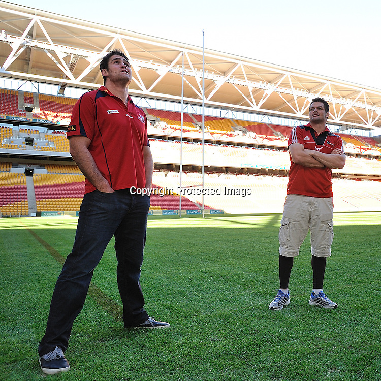 Super Rugby Captains James Horwill (Reds) and Richie McCaw stand on Suncorp Stadium during the photo shoot with the new Super Rugby Trophy ~ Thursday 7th July 2011 ~ before the Reds v Blues Super Rugby Final to be played at Suncorp Stadium on Saturday night ~ Photo : Steven Hight (AURA Images) / Photosport