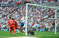 The free kick from Tranquillo Barnetta of Switzerland beats Joe Hart of England as Rio Ferdinand of England looks back , England v Switzerland, EURO 2012 Qualifying Group G  4/6/2011<br />
