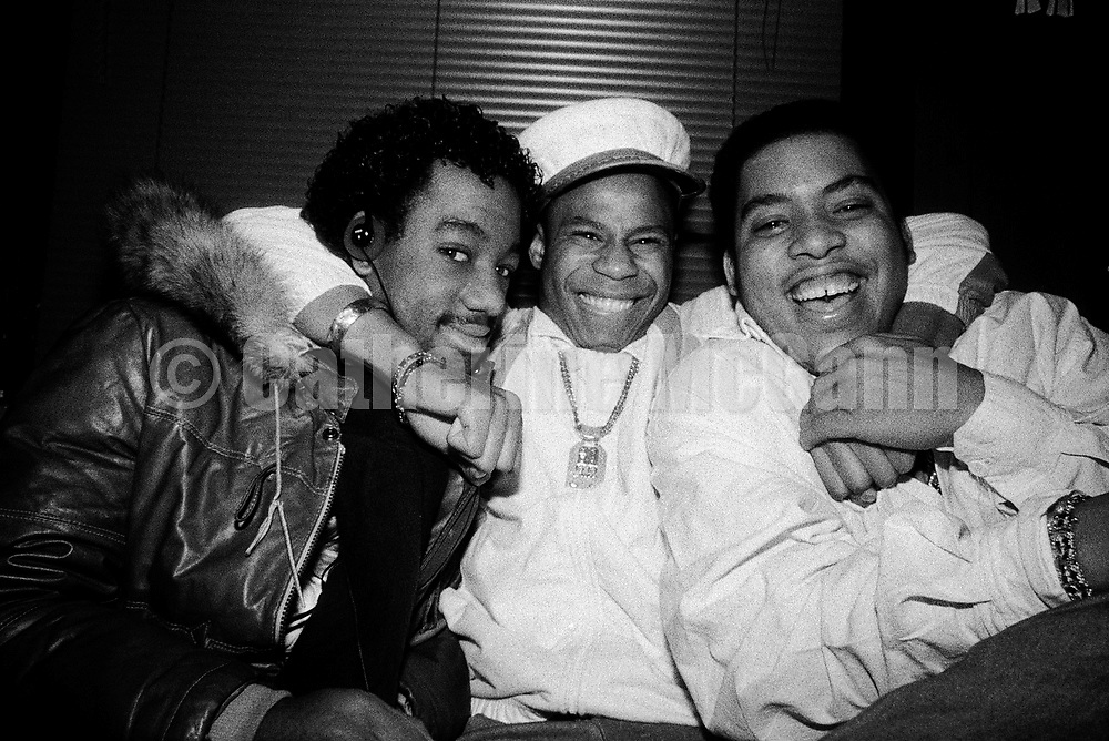 NEW YORK - NOVEMBER 21:  American rapper Doug E. Fresh (born Douglas E. Davis, aka the Human Beat Box) center, and the Get Fresh Crew (Barry Bee and Chill Will) laugh and pose for a portrait on November 21,1986 in Harlem, New York City, New York. (Photo by Catherine McGann).Copyright 2010 Catherine McGann