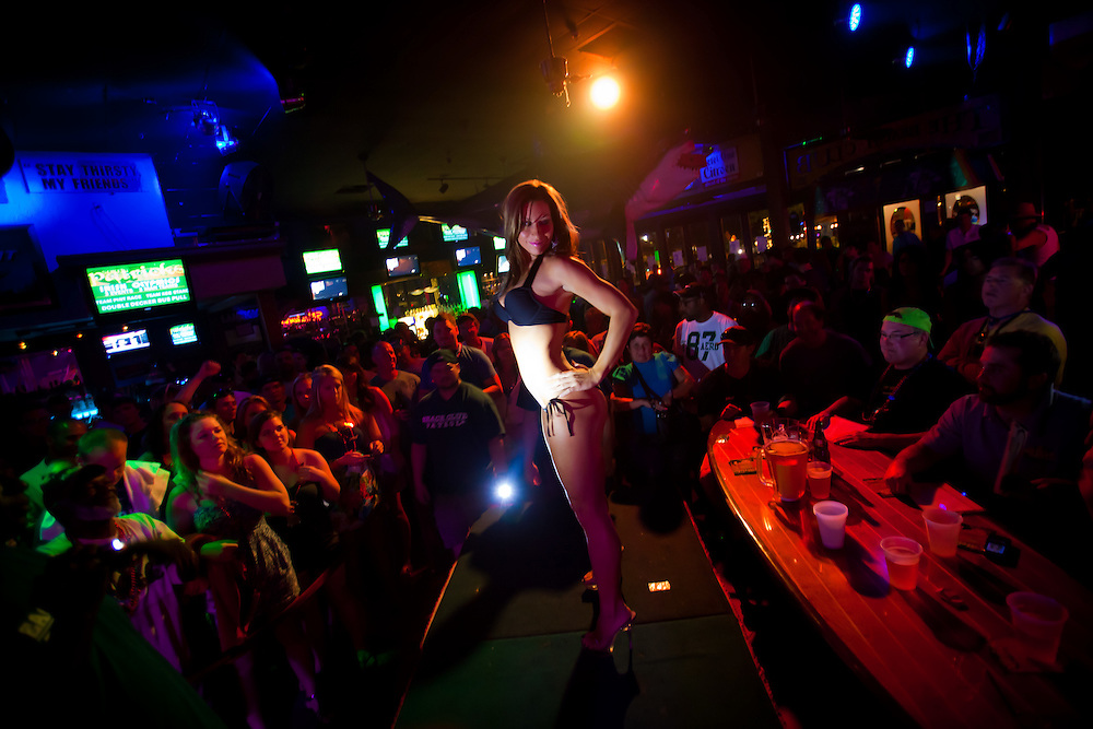 SARASOTA, FL -- March 13, 2010 -- Tiffany Powers of Tampa, who won both bikini contests Sunday night at Gilligan's and The Beach Club, shows off the goods as spring breakers party it up in a packed house during a bikini contest at The Beach Club on Siesta Key, Fla., in Sarasota, FL, on Sunday, March 13, 2011.