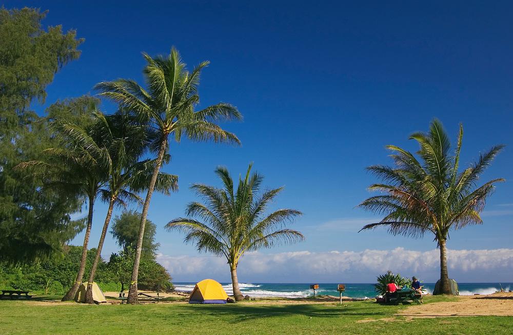 Haena Beach State Park - campground on the beach; north shore, Kauai, Hawaii.