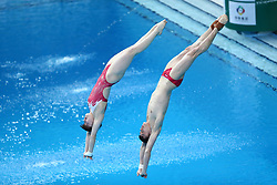 BEIJING, March 9, 2019  Lian Junjie (R) and Si Yajie of China compete during the mixed 10m synchronised final at the FINA Diving World Series 2019 at the National Aquatics Center in Beijing, capital of China, March 9, 2019. (Credit Image: © Caocan/Xinhua via ZUMA Wire)