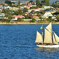 Schooner on Derwent River in Hobart, Australia <br />