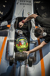 March 10, 2017 - Montmelo, Catalonia, Spain - SERGIO PEREZ (MEX) in his Williams Mercedes FW40 at the pit stop at day 8 of Formula One testing at Circuit de Catalunya (Credit Image: © Matthias Oesterle via ZUMA Wire)