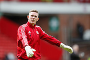 Dean Henderson of Sheffield United warming up for the the Premier League match between Sheffield United and Crystal Palace at Bramall Lane, Sheffield, England on 18 August 2019.