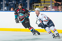 KELOWNA, CANADA - SEPTEMBER 5: Dallon Wilton #18 of the Kelowna Rockets skates against the Kamloops Blazers on September 5, 2017 at Prospera Place in Kelowna, British Columbia, Canada.  (Photo by Marissa Baecker/Shoot the Breeze)  *** Local Caption ***