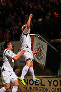 Mark Cullen of Luton Town (right) celebrates scoring his team's first goal to make it 1-1 during the Skrill Conference Premier match at the Abbey Stadium, Cambridge<br /> Picture by David Horn/Focus Images Ltd +44 7545 970036<br /> 11/03/2014