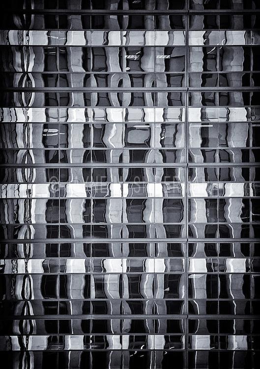 B&W abstract of skyscraper windows