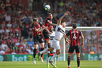 Football - 2018 / 2019 Premier League - AFC Bournemouth vs. Fulham<br /> <br /> Bournemouth's Chris Mepham and Steve Cook challenge Aleksandar Mitrovic of Fulham for a header at the Vitality Stadium (Dean Court) Bournemouth <br /> <br /> COLORSPORT/SHAUN BOGGUST