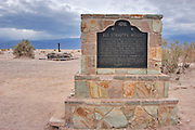 The California historical landmark plaque at Stovepipe Wells, Death Valley National Park, California