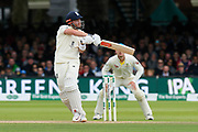 Jonny Bairstow of England plays an attacking shot during the International Test Match 2019 match between England and Australia at Lord's Cricket Ground, St John's Wood, United Kingdom on 18 August 2019.