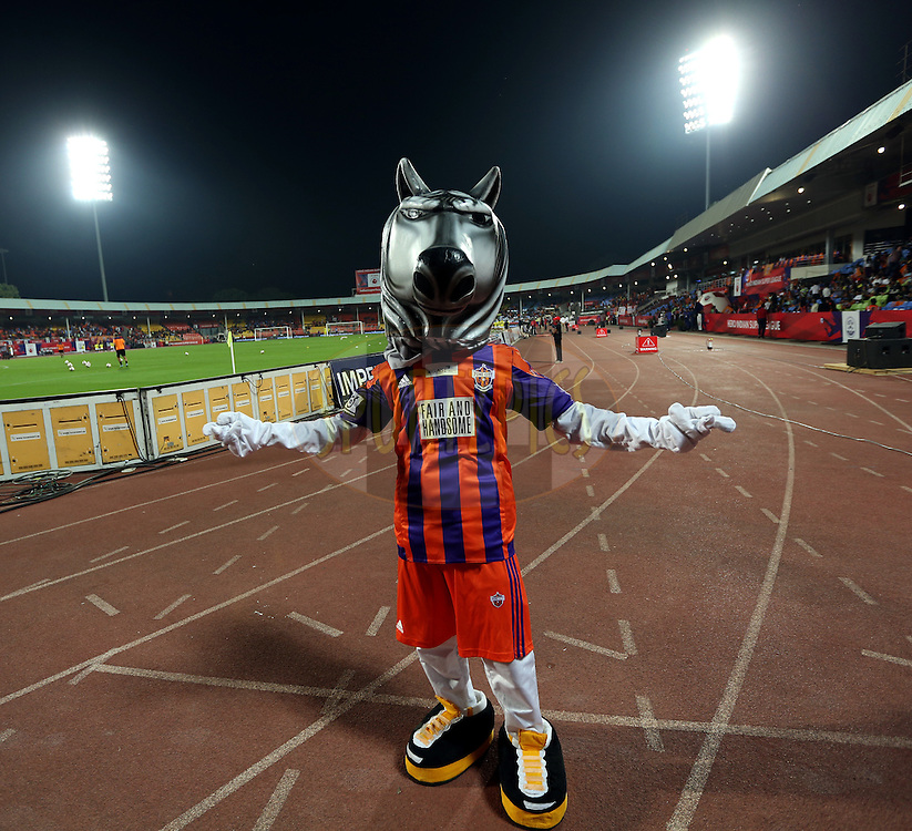 FC Pune City mascot during match 33 of the Indian Super League (ISL) season 2  between FC Pune City and FC Goa held at the Shree Shiv Chhatrapati Sports Complex Stadium, Pune, India on the 8th November 2015.<br /> <br /> Photo by Sandeep Shetty / ISL/ SPORTZPICS