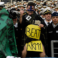 6 December 2008:  Naval Academy Midshipmen hold up a sign during the game against the Army Black Knights on December 6, 2008 at Lincoln Financial field in Philadelphia, Pennsylvania in the 109th Army Navy game.  Navy defeated Army 34-0 for the seventh consecutive time.