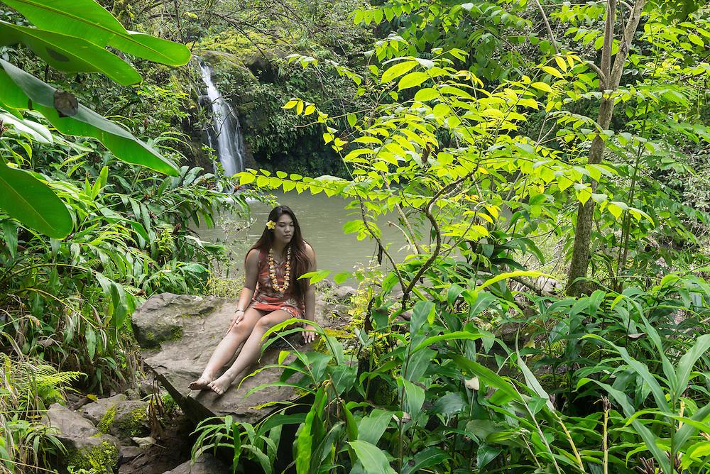 USA, Hawaii, Maui ,Hana, Hawaiian beauty at waterfall, MR 0539